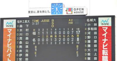 福井工大が3時間半越えの激闘を制し4強入り 大学野球選手権