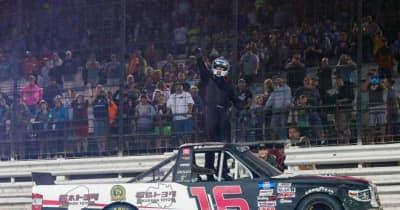 一時20番手から土壇場で大逆転。服部茂章率いるHRE、NASCARトラック・シリーズで今季初優勝