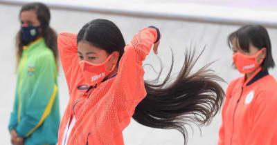 スケボー銅の中山楓奈 腰下までの美しい黒髪にも注目「黒髪ステキ!」「こだわり感じる」