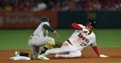 【MLB】快足・大谷翔平号が急停車… 二盗阻止に敵地メディア沸く「勝負のキーだった」