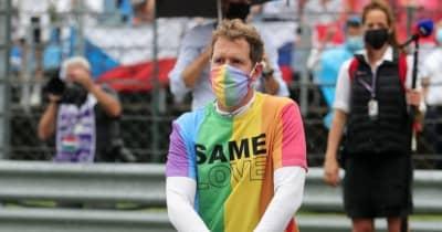 F1ハンガリーGP決勝後、5人に戒告。ベッテルはレインボーカラーTシャツを脱ぎ忘れ、勝者オコンはピットに戻らず