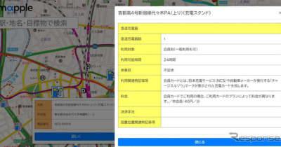 マップル、EV充電ステーションマップ公開