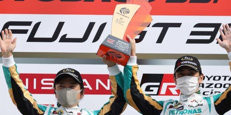 ふたり揃って久々の優勝。柳田「このチームに声をかけてもらって本当に感謝」【第2戦GT300優勝会見】