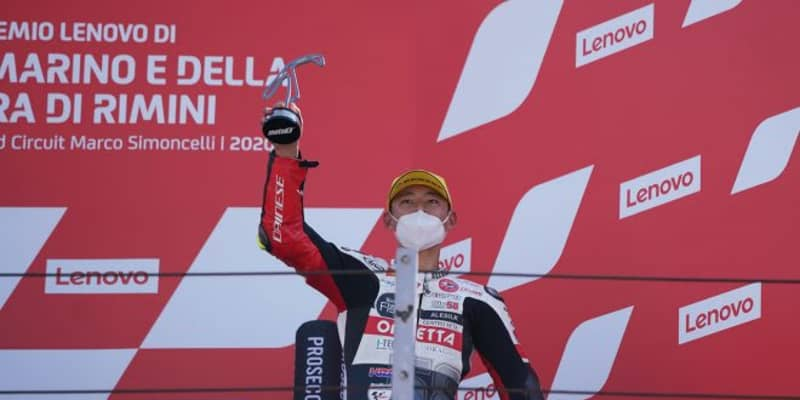 Moto3:3位表彰台の鈴木竜生「厳しいレースでしたがいい結果でうれしい」/MotoGP第7戦サンマリノGP
