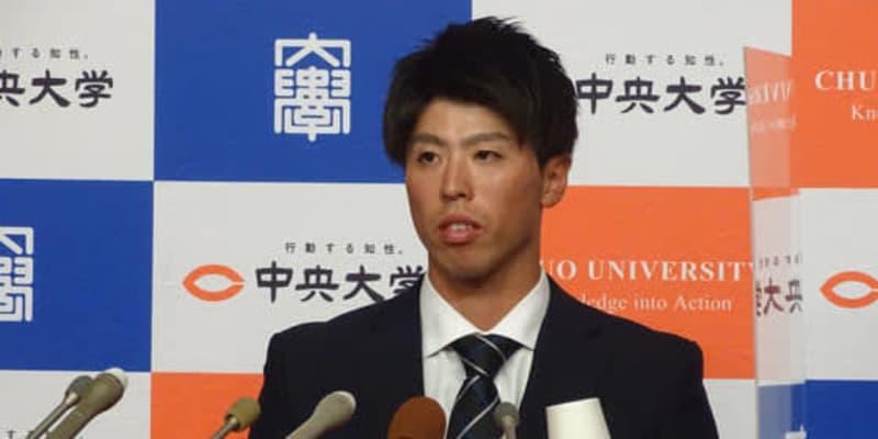 """【ドラフト】""""サニブラウンに勝った男""""中大・五十幡は日本ハム2位 「西川選手を参考に…」"""