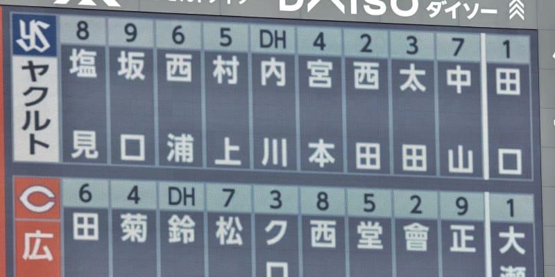 広島 中軸は鈴木誠、松山、クロンの並び ヤクルト先発は田口【スタメン】