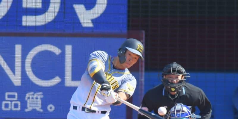 阪神・ドラ1佐藤輝が弾丸ライナーで中堅右へ プロ初の二塁打で3戦連続安打