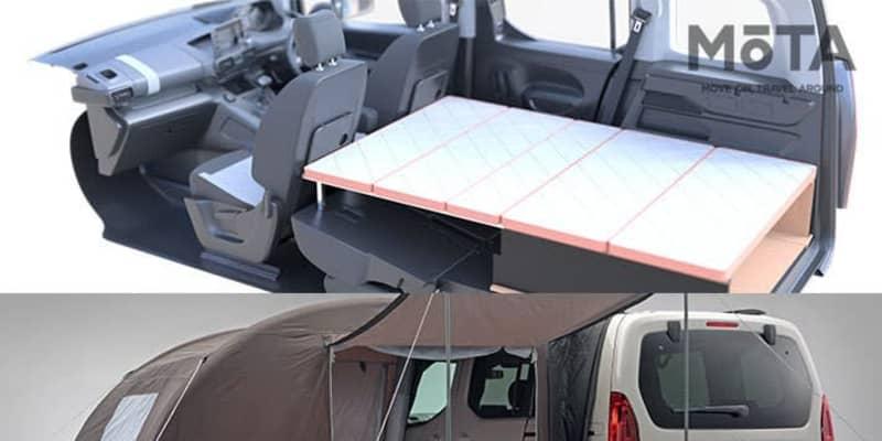 車中泊層必見! 1分で設置出来る純正ベッドキットがファミリー向けハイトワゴン「シトロエン 新型ベルランゴ」に新設定された!