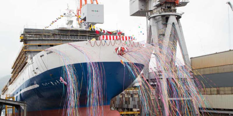 名門大洋フェリー「フェリーきょうと」進水…約35%省エネ、2021年内就航