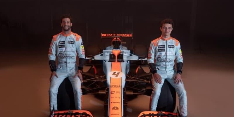 マクラーレンF1、モナコGPにガルフカラーで参戦。マシンとドライバーがレトロなブルー&オレンジに