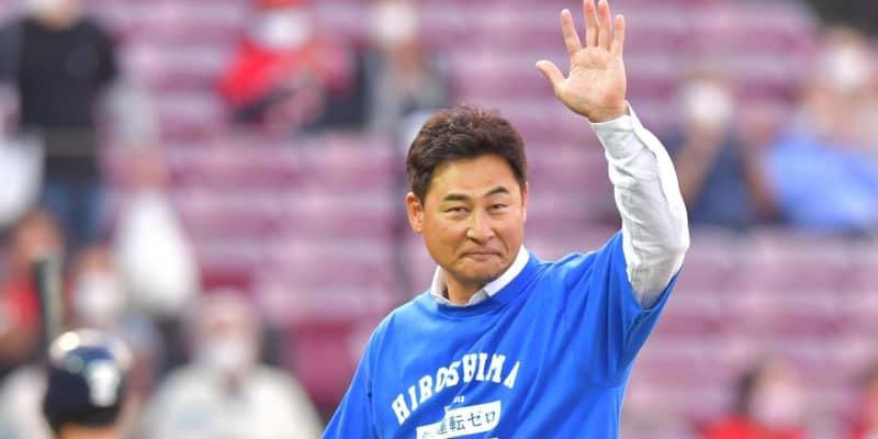 広島のレジェンド 前田智徳氏が始球式 マウンド前方からストライク投球