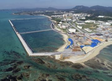 米軍普天間飛行場移設先の沖縄県名護市辺野古の沿岸部=11月(小型無人機から)