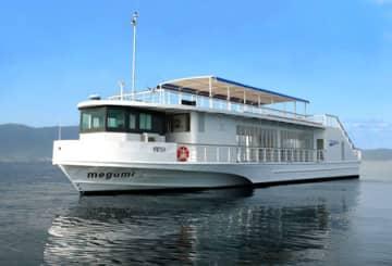 地酒を船内で楽しめる高速船「メグミ」(琵琶湖汽船提供)