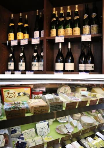 ウミノ酒店で販売しているワイン(上)とタチバナフロマージュで陳列しているチーズ