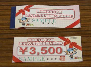 愛川町が交付している育児用品購入助成券の見本
