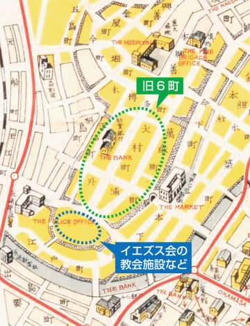終戦翌年に作られた「長崎市街案内図」(長崎歴史文化博物館蔵、一部加工)の一部。描かれた石垣が、旧6町などを取り囲むように連なっているのが分かる