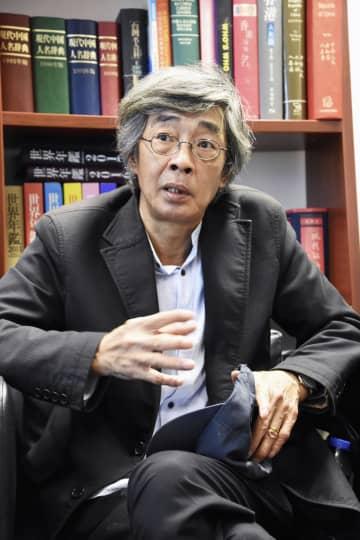 インタビューに応じる林栄基氏=20日、香港(共同)
