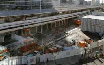 リニア中央新幹線名古屋駅の工事現場=7日午前