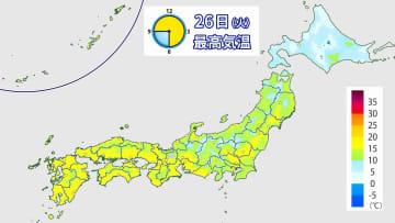 26日(火)最高気温の予想分布