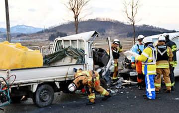 重大事故につながる危険な逆走。県警などは注意を呼び掛けている=9日、村山市(画像の一部を加工しています)