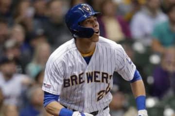 ドジャース戦で2ラン本塁打を放ったブルワーズのクリスチャン・イエリッチ【写真:AP】