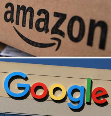 アマゾン・コム、グーグルのロゴ(ロイター=共同)