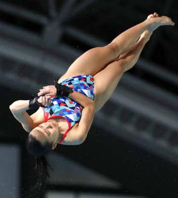 女子高飛び込み 優勝した金戸凜=東京辰巳国際水泳場