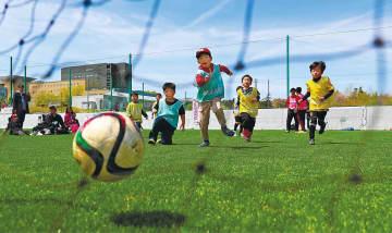 青空の下、柔らかい芝生の上でサッカーを楽しむ子どもたち=20日午前10時50分ごろ、Jヴィレッジ