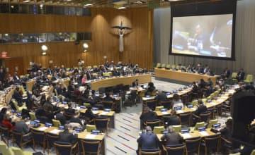 29日、米ニューヨークの国連本部で開幕した核拡散防止条約(NPT)再検討会議の第3回準備委員会(共同)