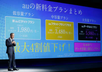 新しい料金プランについて説明するKDDIの東海林崇専務=13日午前、東京都内のホテル