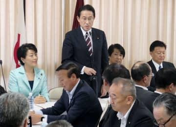 自民党の全国政調会長会議であいさつに立つ岸田政調会長=17日午後、東京・永田町の党本部