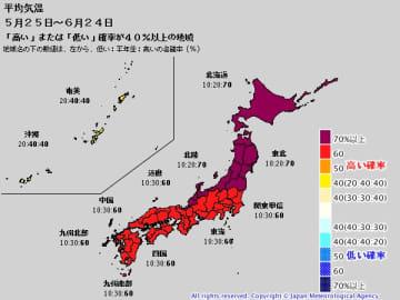 1か月予報(5月25日~6月24日の平均気温)。出典:気象庁HP