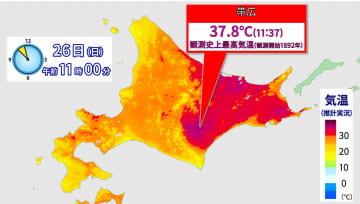 26日(日)午前11時の北海道の気温