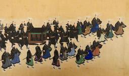 姫路藩主酒井忠顕の大名行列を描いた「顕徳院様将軍御名代上京行列図」の一部(姫路市提供)