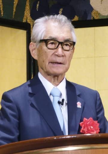 大阪市内で講演する京都大の本庶佑特別教授=27日
