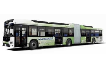 日野自動車、国産初のハイブリッド連節バスを発売 「日野ブルーリボン ハイブリッド連節バス」
