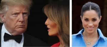 英国を訪問中のトランプ米大統領夫妻(左、4日)とメーガン妃(いずれもロイター=共同)