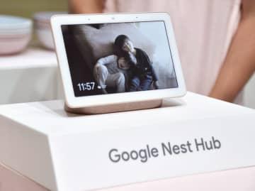 グーグルが日本で発売するスマートディスプレー「グーグルネストハブ」=5日、東京都渋谷区