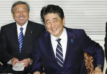 自民党役員会に臨む安倍首相(右)=10日午後、国会