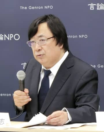 記者会見する言論NPOの工藤泰志代表=12日、東京都内