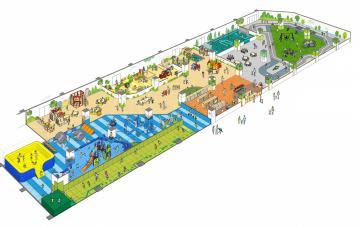 日立市が整備する屋内型子どもの遊び場の「あそび・まなびエリア」のイメージ