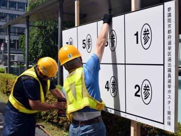 参院選の候補者ポスターの掲示板を設置する作業員(京都市中京区河原町通御池上ル)