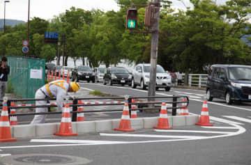 安全対策工事が完了した事故現場(大津市大萱6丁目)
