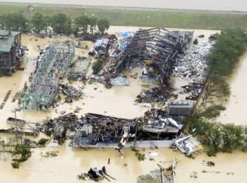 昨年7月、爆発が起きた「朝日アルミ産業」の岡山工場=岡山県総社市