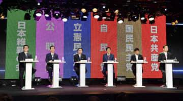 7月4日公示の参院選を控え行われた、インターネット番組の党首討論会。(左から)日本維新の会の松井代表、公明党の山口代表、立憲民主党の枝野代表、自民党総裁の安倍首相、国民民主党の玉木代表、共産党の志位委員長=30日夜、東京・六本木