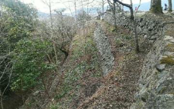 佐伯城跡で見つかった階段状の石垣。高さは約13メートルあり4段になっている(佐伯市教委提供)