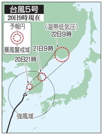 台風5号の予想進路(20日9時現在)