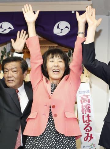 北海道選挙区で当選を決め、万歳する自民党の高橋はるみ氏=21日夜、札幌市中央区