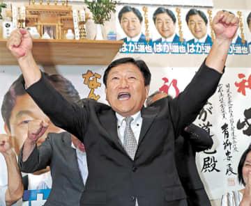 初当選を決め、ガッツポーズをする芳賀さん=21日午後10時20分ごろ、山形市の事務所