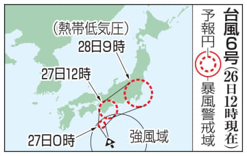 台風6号の予想進路(26日12時現在)